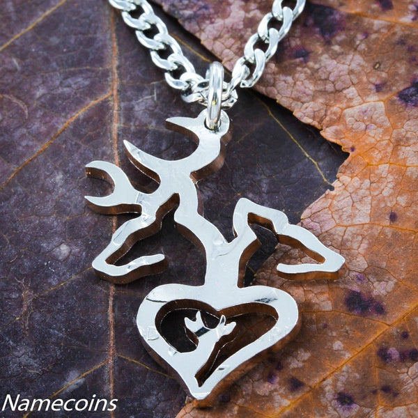 Buck And Doe Single Pieces - Buck And Doe With Son Necklace, Deer Family, Hand Cut Coin