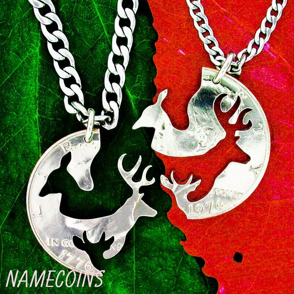 Buck Doe Couples Necklaces - Buck And Doe And Spike Necklace Set, Buck Doe Family