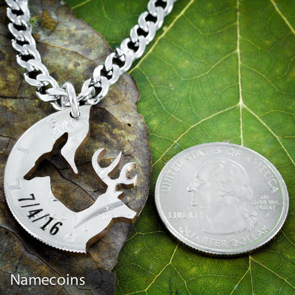 Buck Doe Couples Necklaces - Buck And Doe Couples Necklace With Custom Engraved Dates