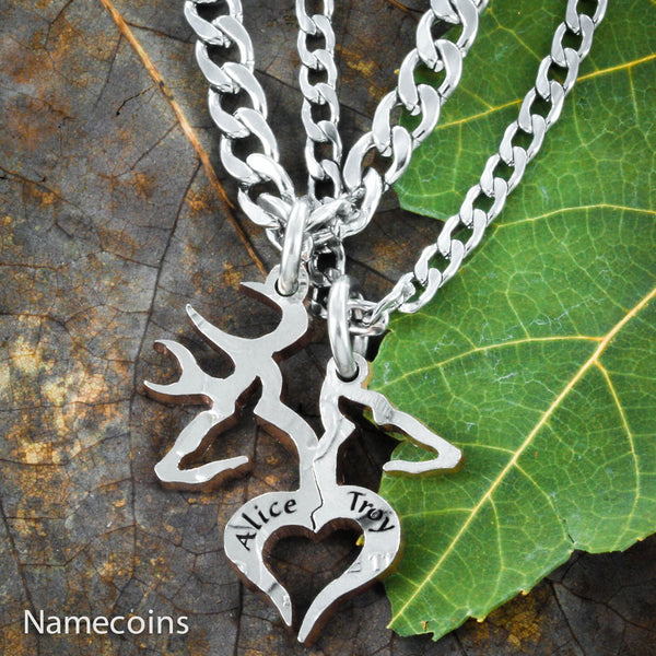 Buck Doe Couples Necklaces - Buck And Doe Heart Couples Necklaces With Engraved Names