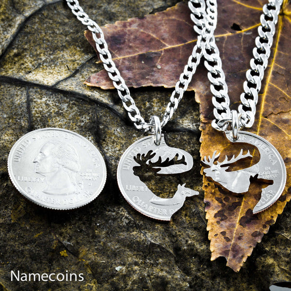 Buck Doe Couples Necklaces - Elk Couples Necklaces, Interlocking Puzzle Jewelry
