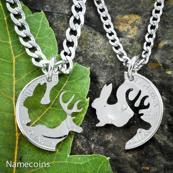 Buck Doe Couples Necklaces - His Bunny And Her Buck Country Couples Necklaces