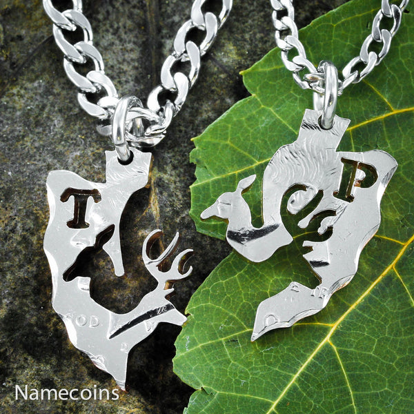 Buck Doe Couples Necklaces - Monogram Country Couples Deer Arrowhead Jewelry