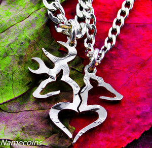 Buck Doe Couples Necklaces - Buck And Doe Heart Jewelry