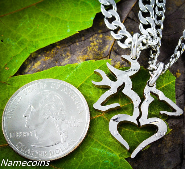 Buck And Doe Heart Coin Necklaces