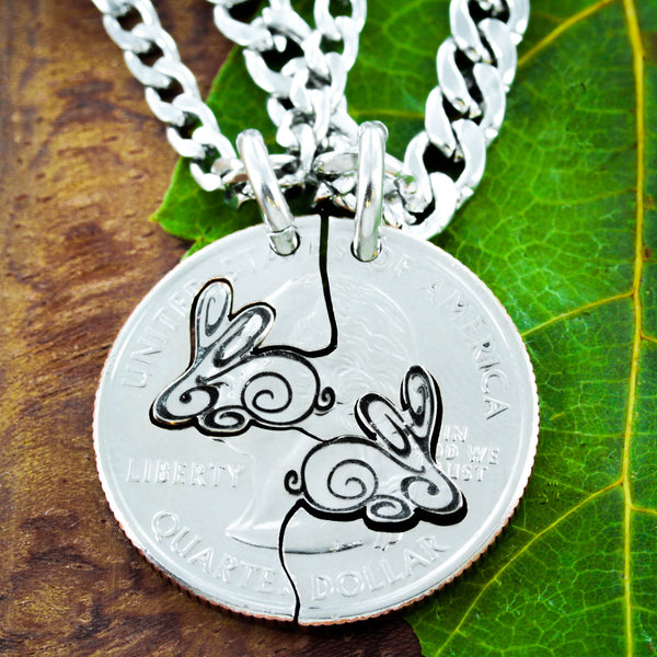 Bunny best friends necklaces, rabbit connecting jewelry