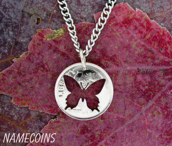 Butterfly Necklace, Hand Cut Quarter Or Dime