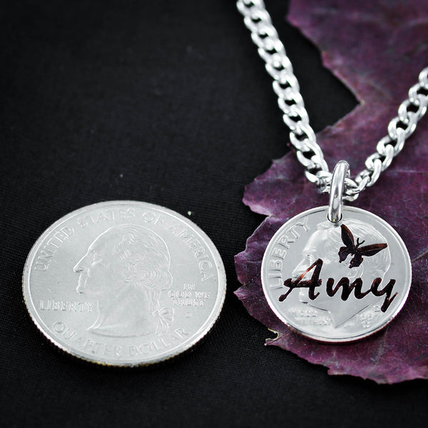Custom Name Necklace with Butterfly, hand cut Quarter