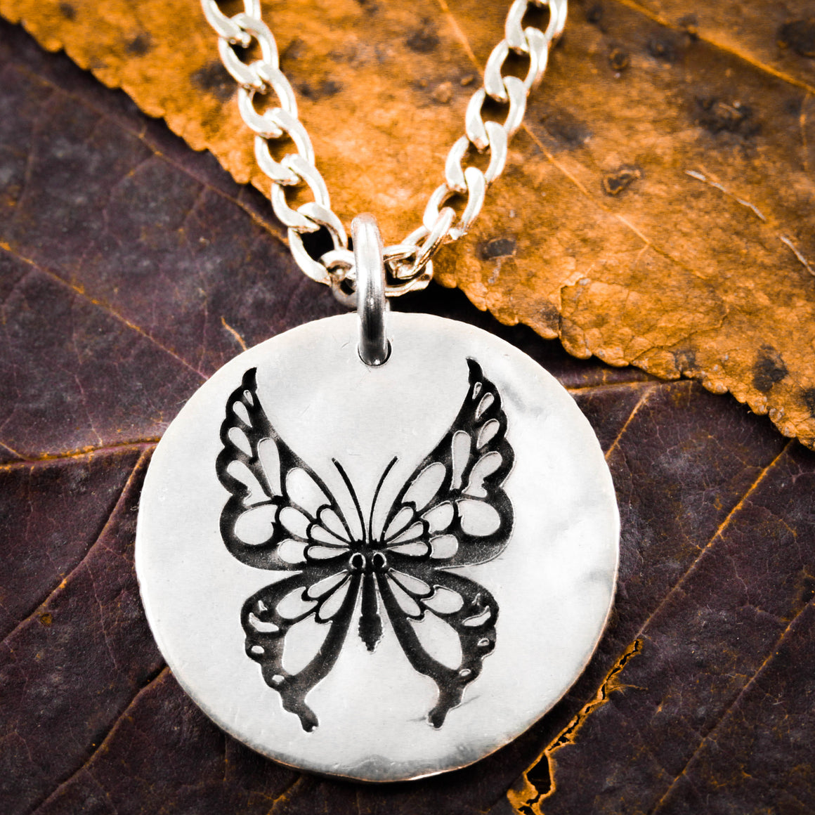 Butterfly Engraved Necklace, Hammered Silver Charm
