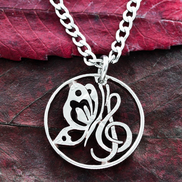 Butterfly and Treble Clef Necklace, Music Jewelry