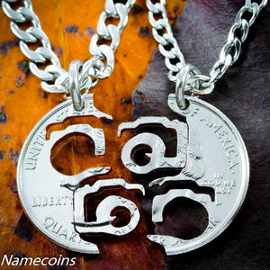 Camera Necklace, Photography Interlocking Cut Coin.