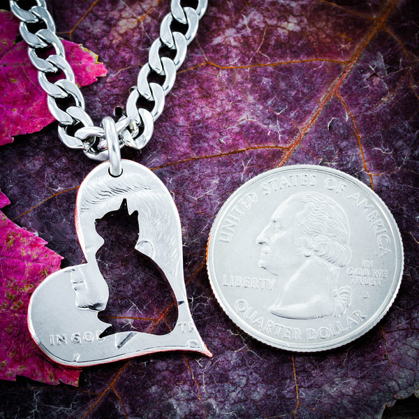 Cat Lovers, Cat in a heart, half dollar coin necklace