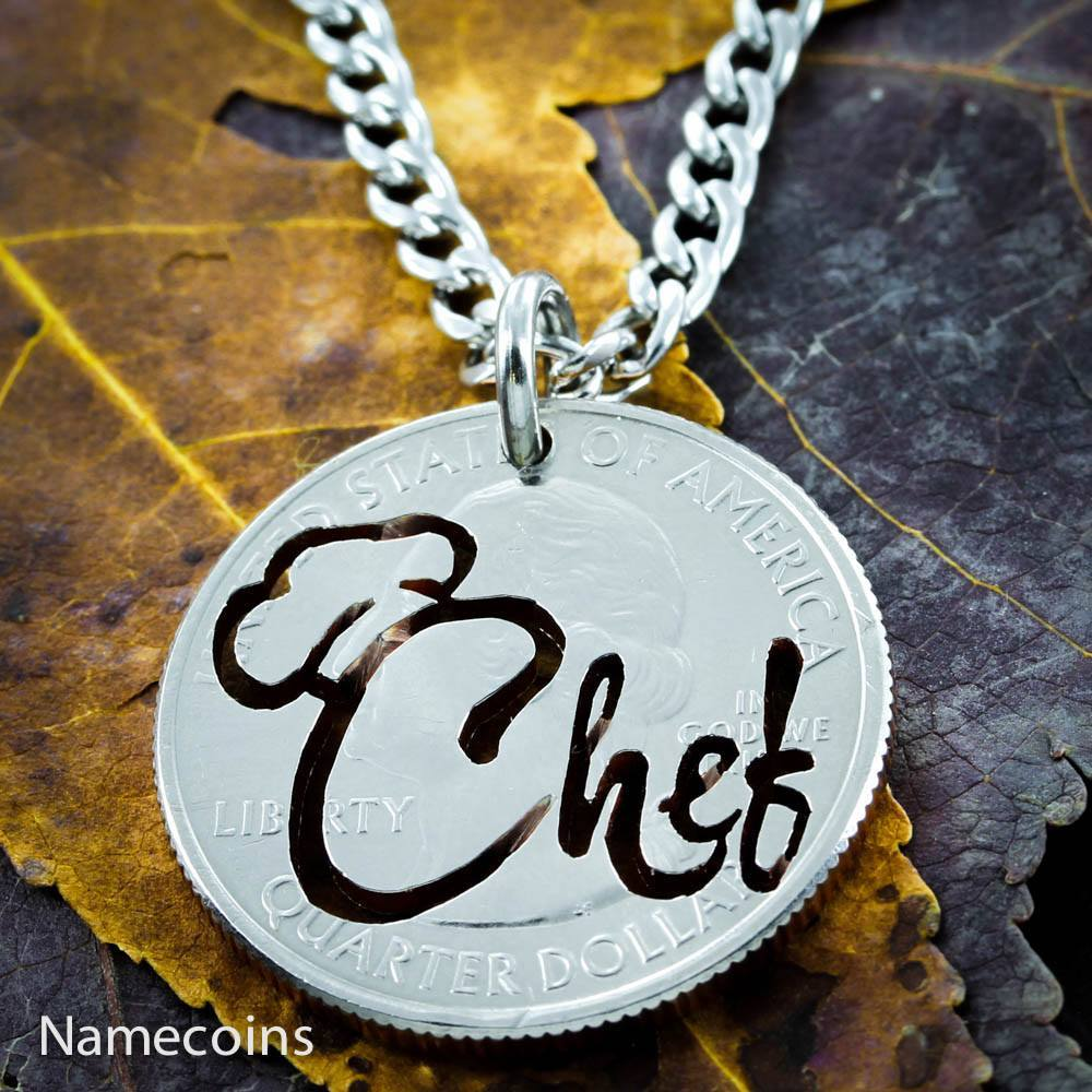 Chef Necklace Hand Cut Coin