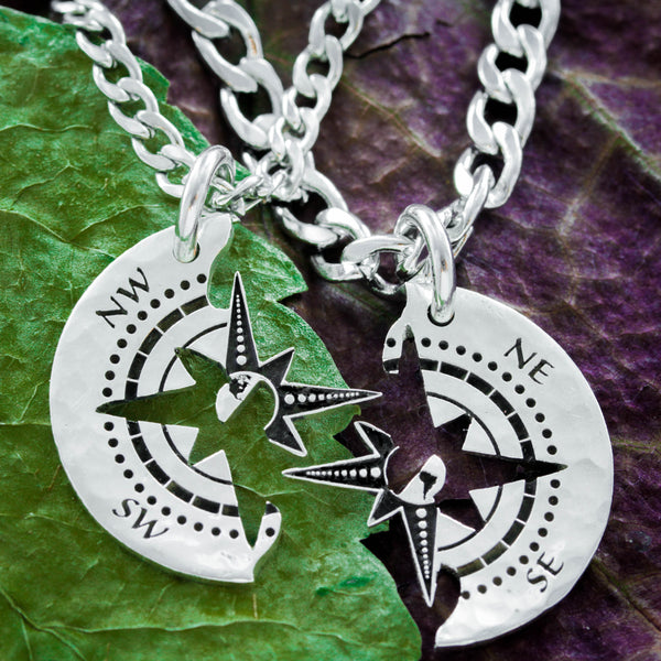 Silver Compass Couples Necklaces, Friends Travel Jewelry, Long Distance Relationship