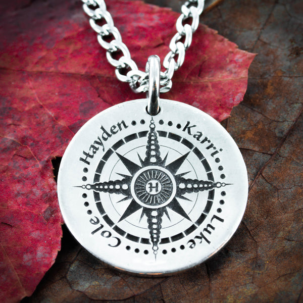 Personalized Compass necklace, 4 best Friends Names, Engraved real silver coin,