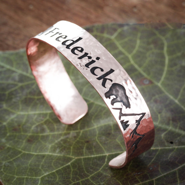Copper Cuff With Name, Bear, and Mountain engraved, Bracelet Cuff