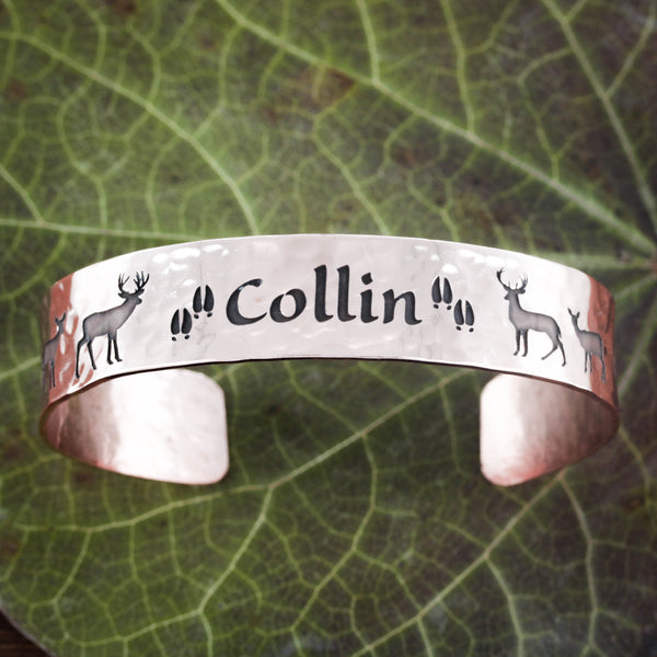 Copper Cuff With Engraved Name and Buck and doe deer on each side, family gift