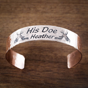 Buck and Doe Copper Cuff With Custom Name, His Doe