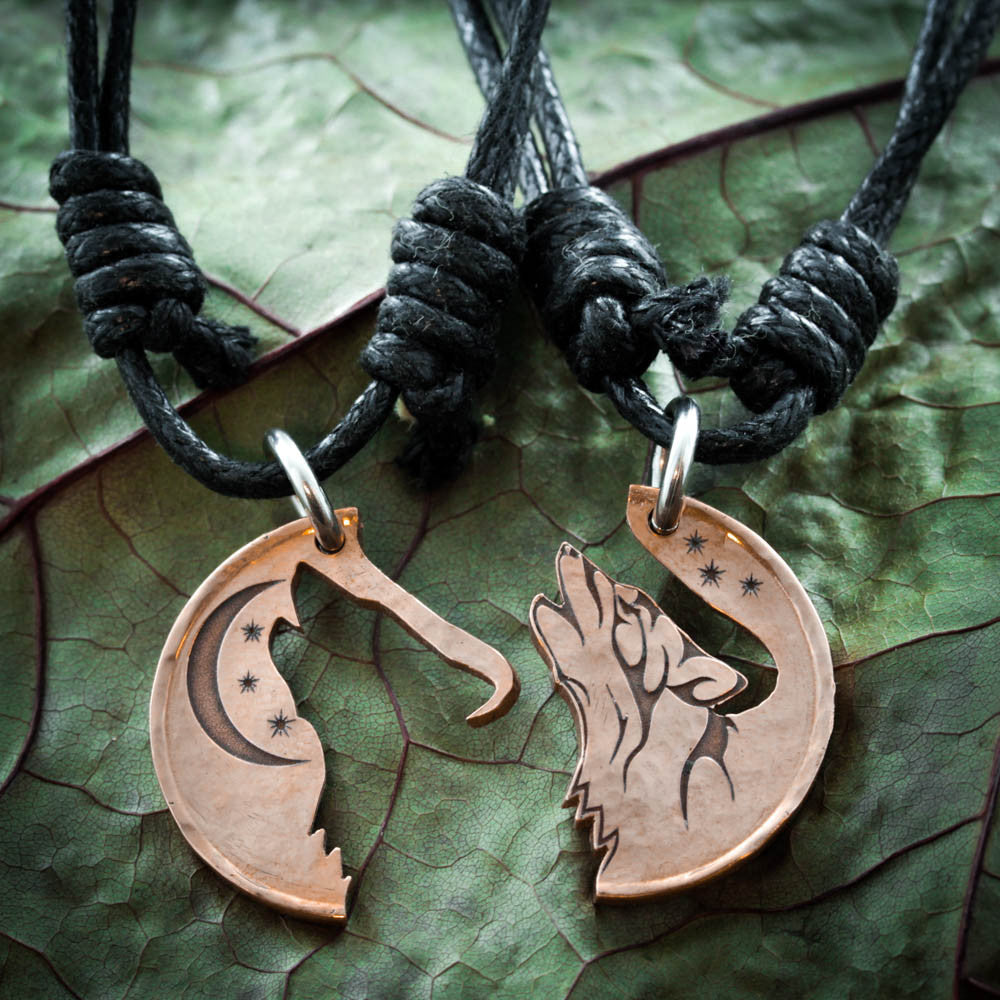 Howling Tribal Wolf with Moon copper coin necklaces