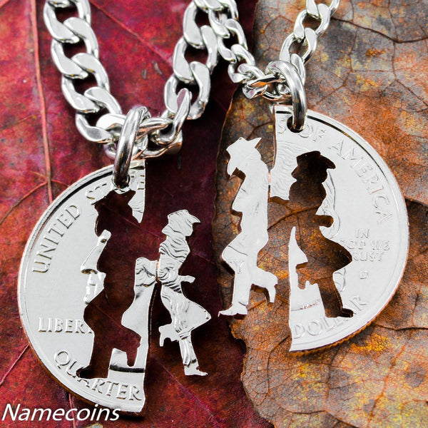 Cowgirl Jewelry, His And Hers Cowboy Necklaces, Matching Set, Hand Cut Coin