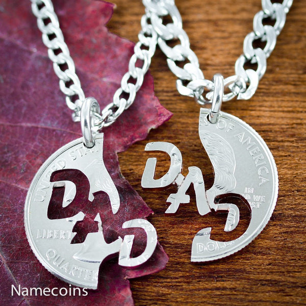 Dad Necklace, I Love Mom Interlocking Set, Hand Cut Coin