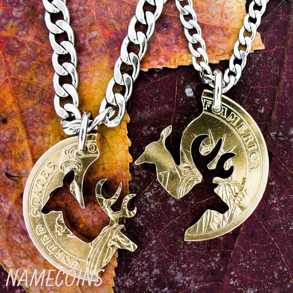 Deer Cut Coin Necklace, Couples Interlocking Gold Dollar, Hand Cut Coin