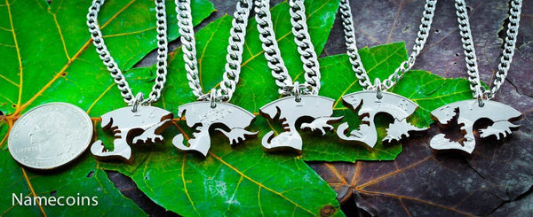 Unknown - Dinosaur 5 Piece Necklaces, Fits Like A Puzzle, Cut From A Real Silver Dollar
