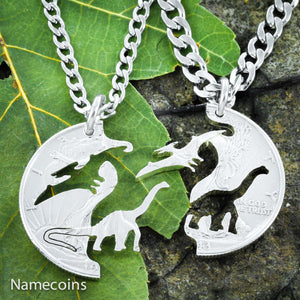 Dinosaur Best Friend Gift Necklaces, Pterodactyl And Brontosaurs