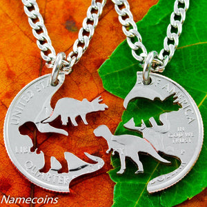 Dinosaur Jewelry, Kids Best Friends Necklaces, T-rex And Triceratops Cut Quarter