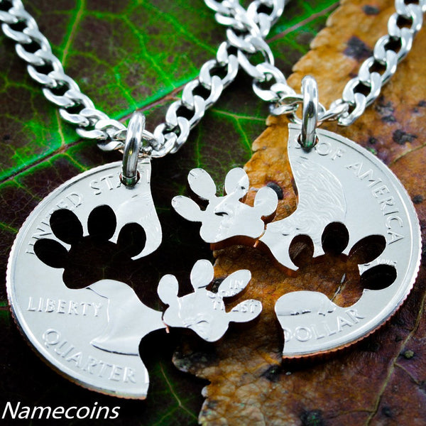 Dog Jewelry, Paw Print Necklace Set, Best Friends Necklaces, Interlocking Relationship Cut Coin, Necklace, Key Chain, Or Collar Tag