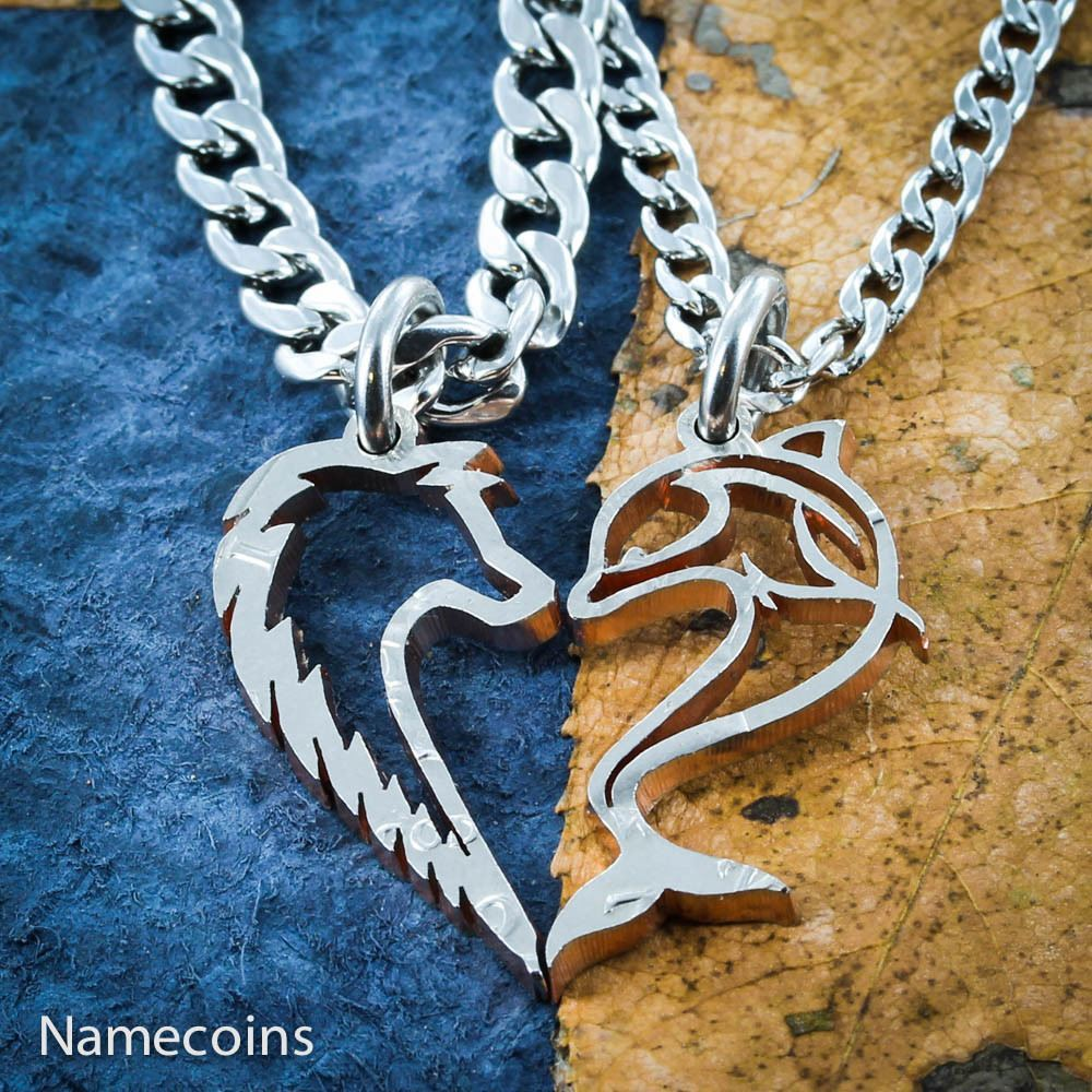Dolphin And Wolf Heart Couples Necklaces - NameCoins - photo#17