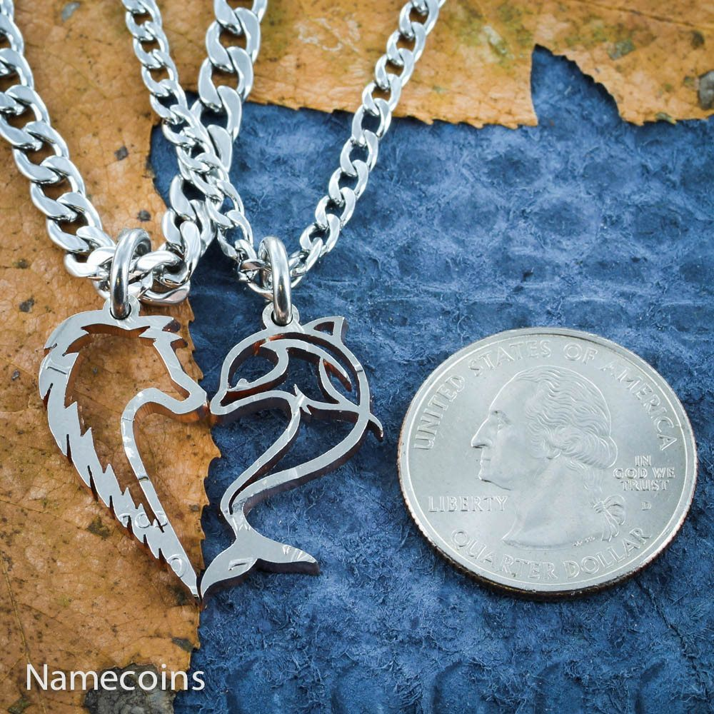 Dolphin And Wolf Heart Couples Necklaces - NameCoins
