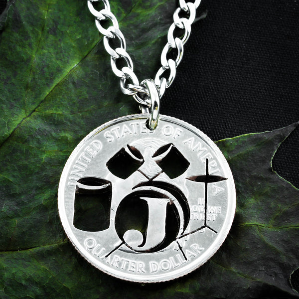 Drum necklace, Drummers initial coin gift