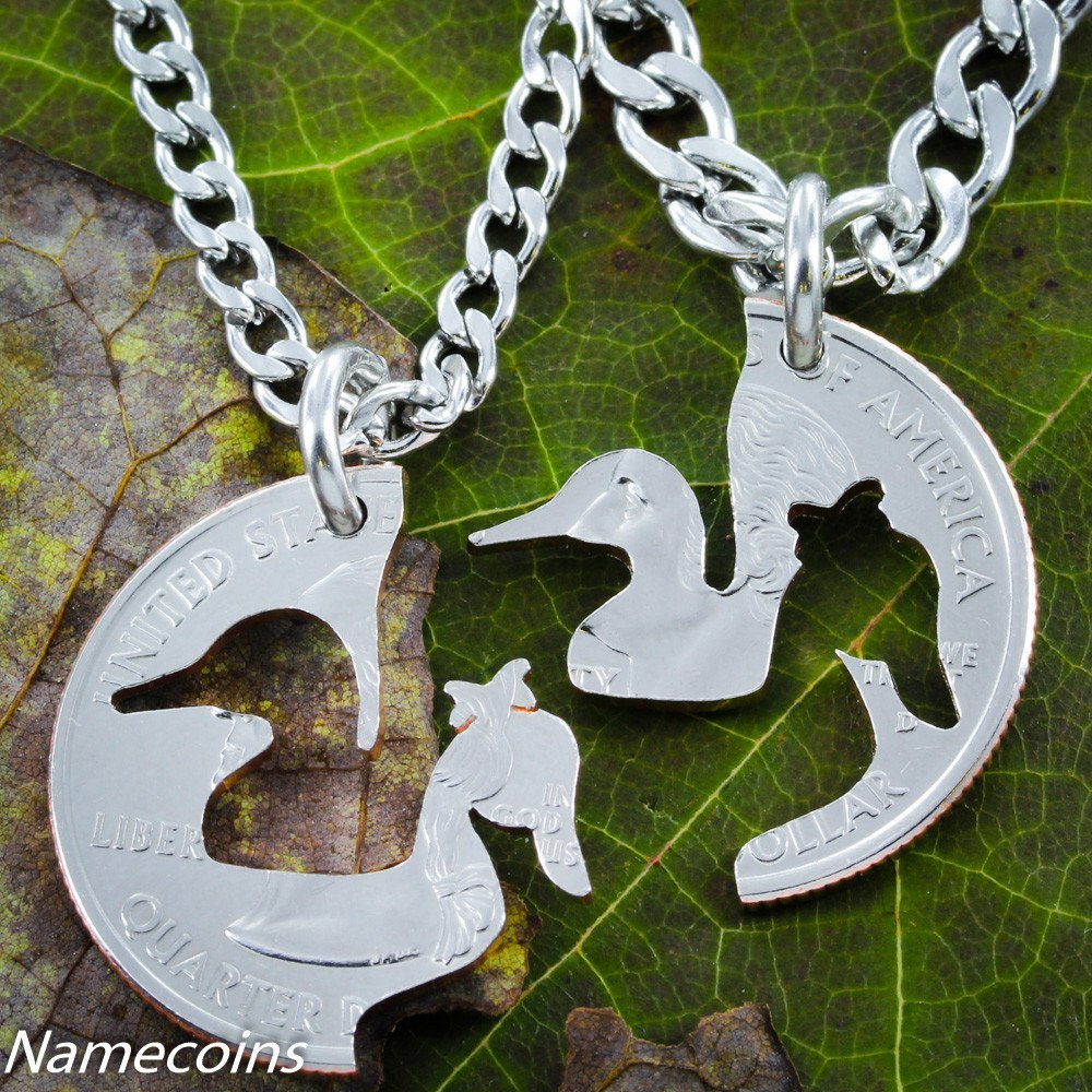 Duck jewelry, handcrafted, couples necklaces - NameCoins