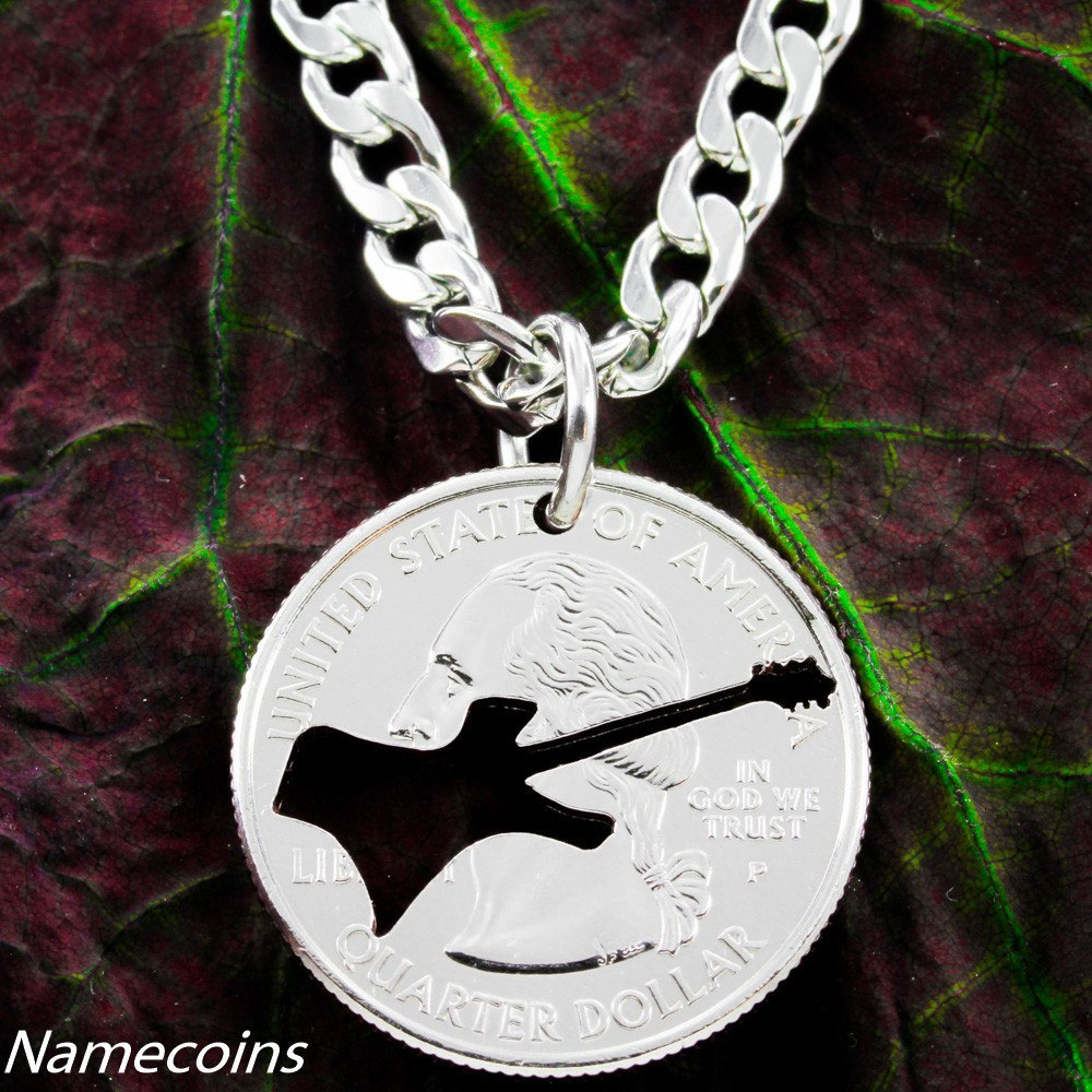 Electric Guitar Necklace Rock Band Jewelry Handcut Quarter