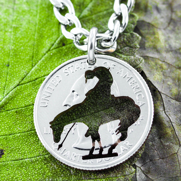 End of trail Necklace, western jewelry, hand cut coin