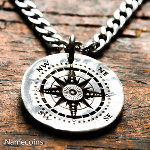 Engraved Silver Quarter - Silver Compass Necklace, Engraved Into An Old Hammered Silver Quarter