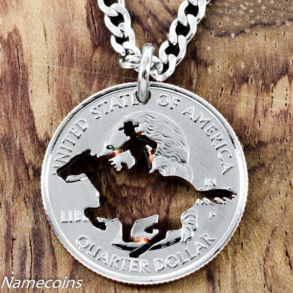 Equestrian Necklace, Galloping Horse Jewelry,  Hand Cut Coin