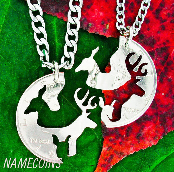 Family Deer Necklace Set, Buck Doe And Fawn Interlocking Set Hand Cut On A Half Dollar