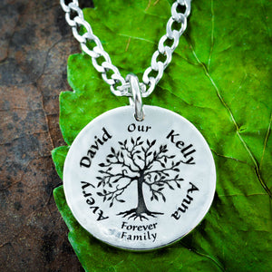 Silver Family Tree Necklace with custom names engraved