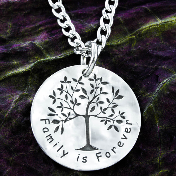 Family is Forever Tree Necklace, Distressed silver pendant