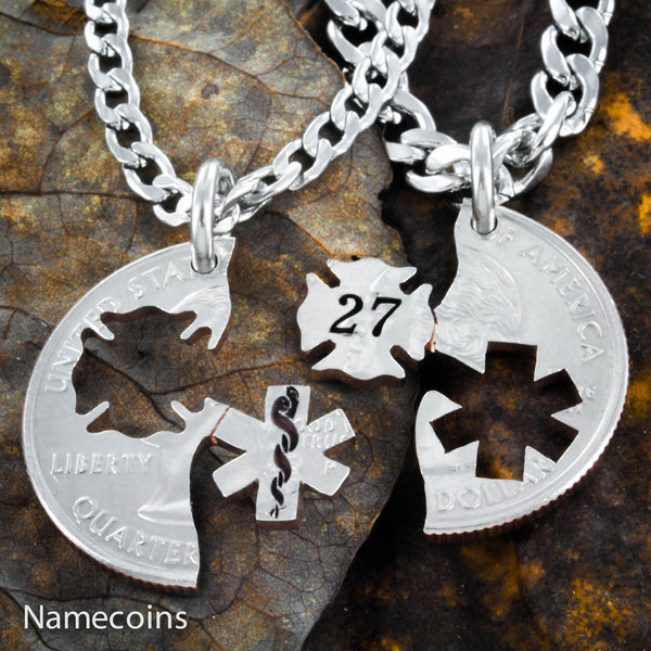 Unknown - Firefighter And Nurse Couples Necklaces With Custom Fireman's Number
