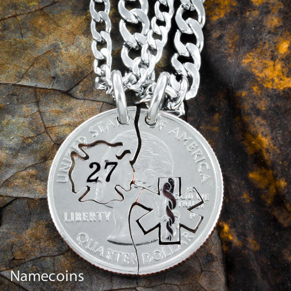Firefighter And Nurse Couples Necklaces With Custom Fireman's Number