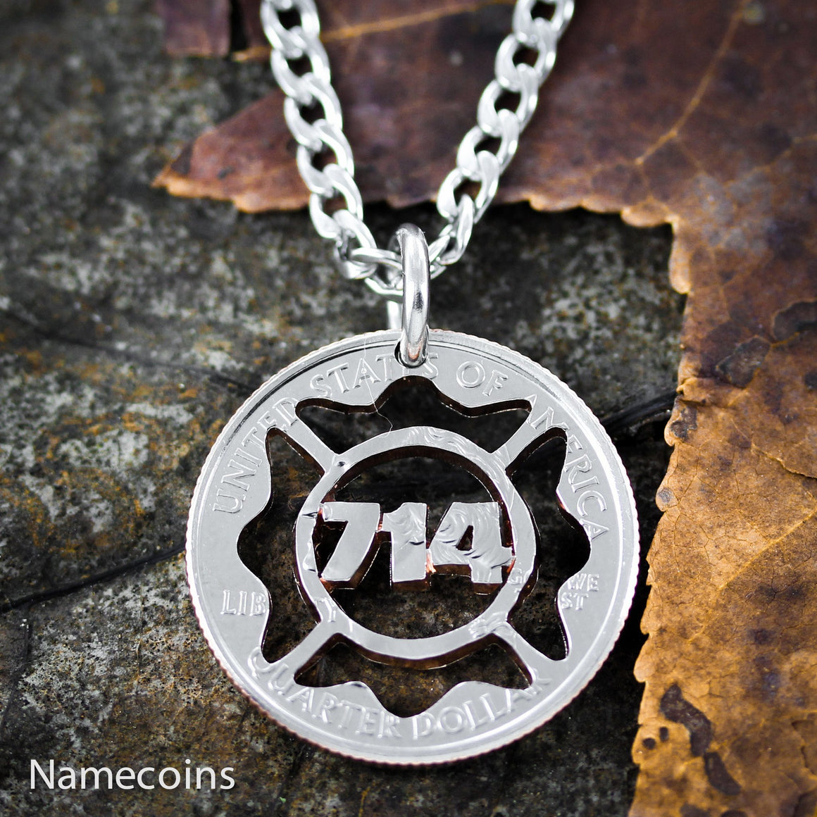 Firefighter Number In Maltese Cross Necklace