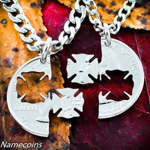 Firefighter and Wife Necklace set, interlocking quarter by NameCoins