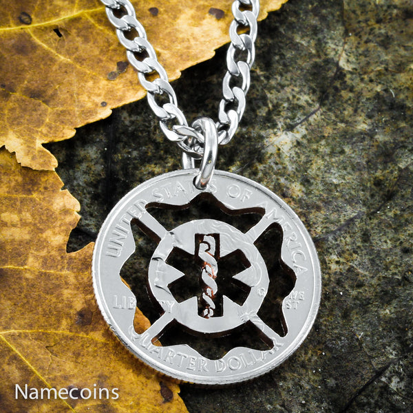 Fireman EMT Maltese Cross Star Of Life Necklace Fireman