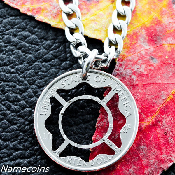 Fireman Necklace, Maltese Cross For Firefighters, Hand Cut Coin, Necklace Or KeyChain