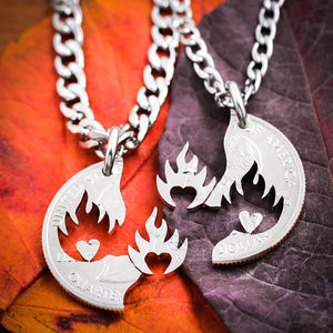 His and Her Hearts on Fire Couples Necklaces, Fierce Love