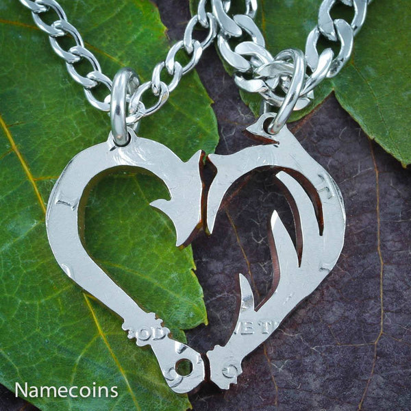 Fish Hook And Antler Necklace Set For Couples Making A Heart, Hand Cut Half Dollar