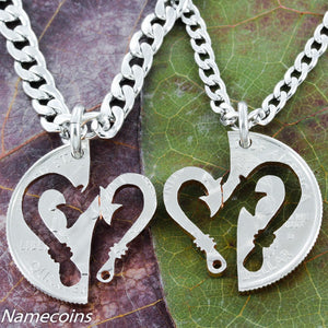 Fish Hooks Into Heart Interlocking Necklaces